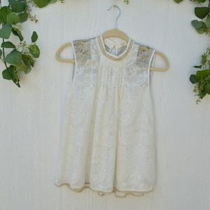 Anthropologie Tiny White Embroidered blouse